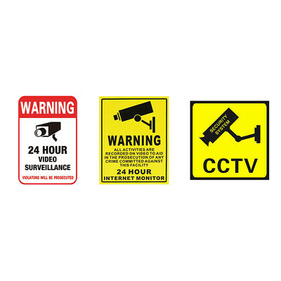 1pc Alarm Surveillance Security Camera Video CCTV Stickers Warning Decal Signs