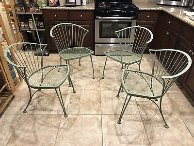 4 Rare Vintage RUSSELL WOODARD PINECREST Patio Wrought Iron chairs Mid Century