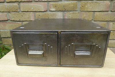 Vintage French Industrial 2 Drawer Steel File Cabinet Heavy Duty