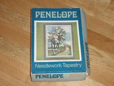 """COUNTRYSIDE PENELOPE TAPESTRY KIT with wool, part completed 13"""" x 18"""" EP487"""