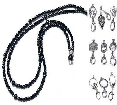Beaded Lanyard security work id badge holder Black Pearl Silver Choose a charm