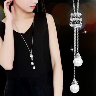 Pearl Crystal Long Sweater Chain Circles Necklace Crystal Jewlery