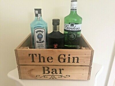 Vintage Style Wooden Gin Bar  Crate Box Storage Shabby Chic Party Wedding Gift