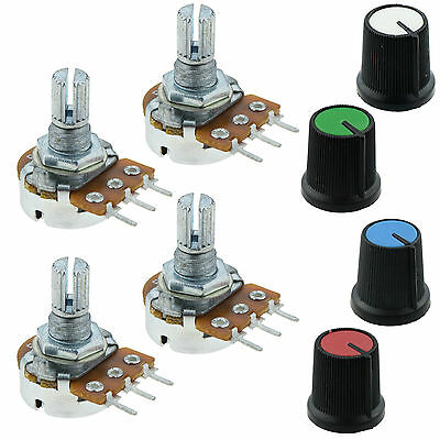 4 x 10K Log Logarithmic Potentiometer Pot with Coloured Knob