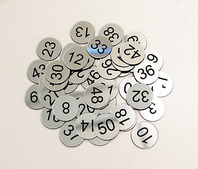 60pcs x 3cm Custom Engraved Number Discs, Restaurant, Clubs, Tags, Locker, Pub