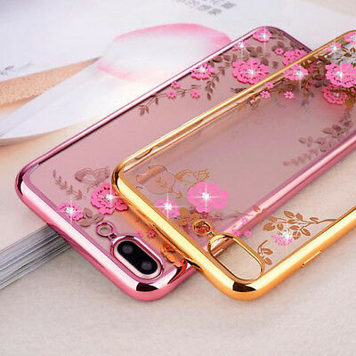 For iPhone XS Max XR 6S Bling Crystal Diamond Butterfly Flower Soft Case Cover