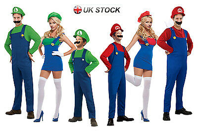 Super Mario Luigi Bros Fancy Dress Men's Women's Kids' Halloween Costume Outfit