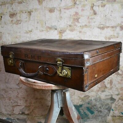Antique Leather Travel Case Travel Labels Vintage prop Wedding Storage Suticase