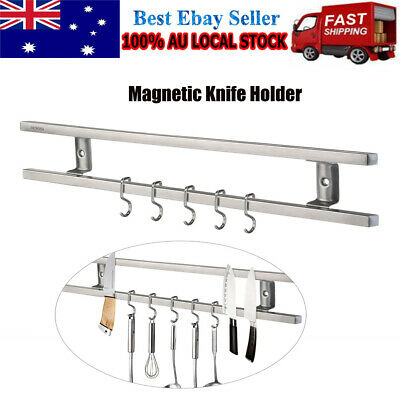 Stainless Steel Magnetic Knife Holder Storage Strip Kitchen Tool Utensil Rack AU