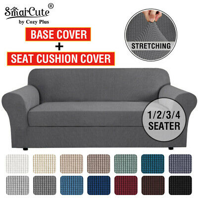 2 Pieces Stretch Sofa Cover Couch Cover Lounge Thick Slip Covers 1/2/3 Seater