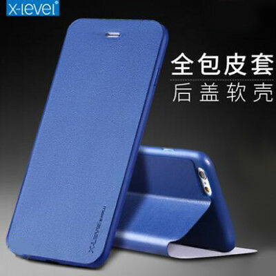For iPhone X 8 Plus X-Level Colorful Slim Genuine Leather Flip Case Stand Cover