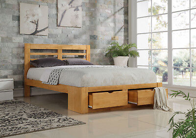 Bretton Drawer Storage Bed Frame Solid Wood Oak Finish Various Sizes