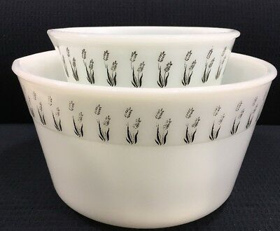 Vintage Set Of 2 Mixer Bowls Milk Glass With Black Flower Border Art Deco