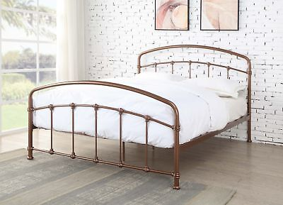 Ashley Luxury Rose Gold Copper Metal Bed Frame Antique Style Various Sizes