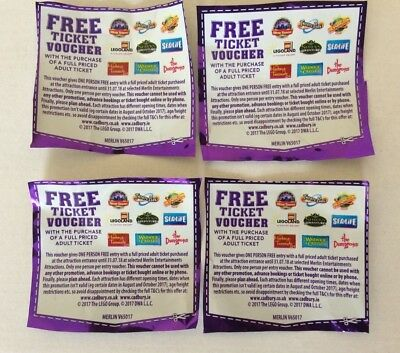 8 x Free Merlin Ticket Voucher Coupon Chessington Alton Towers Thorpe = 2 for 1