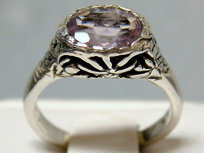 NATURAL  1ct  Purple Amethyst antique 925 sterling silver ring size 8 USA