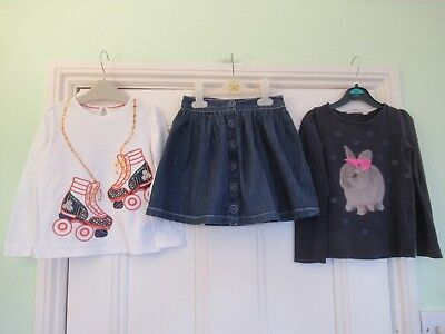 4-5 yrs: Cute outfit: Denim skirt + 2 tops (Bunny/Roller boots): John Lewis/M&S