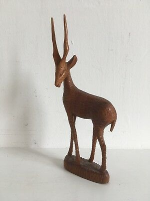 Vintage Hand African Carved Wooden Antelope / Gazelle Grained Wood