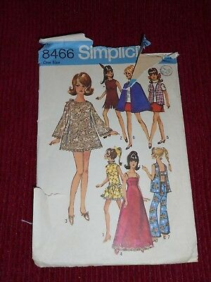 Vintage 1969 Simplicity #8466 Sewing Pattern for Barbie Maddie Mod Clothes Doll