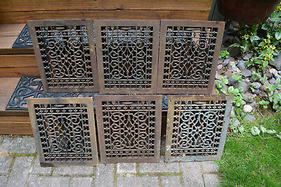 6 Vintage VICTORIAN Cast Iron Floor Grille Heat Grate Register with Louvers