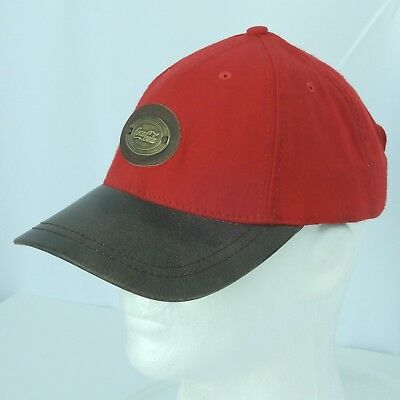 Coca Cola Hat Cap Red Safe Driver Award Patch Faux Leather Brim Adjustable
