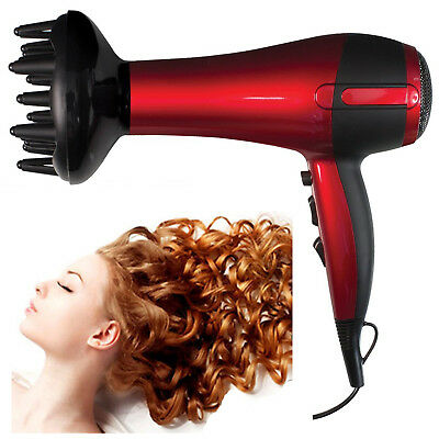 Red Hot Professional Style 2200W Hair Dryer w/ Diffuser & Nozzle Salon Styler