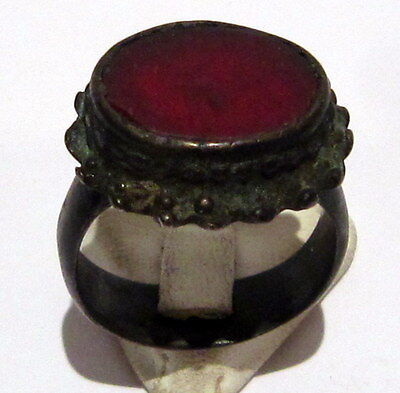 Amazing Large And Huge Post-Medieval Bronze Ring With Red Stone # 818