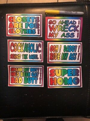 "6 PC GAY Ultimate Prank BUMPER STICKERS Joke Revenge 3x5"" Inches Each"