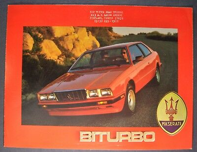 1985 Maserati Biturbo Sales Brochure Folder Excellent Original 85