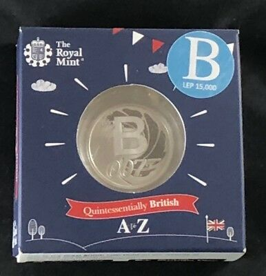 GREAT BRITISH COIN HUNT Letter B - JAMES BOND 2018 UK 10p.Silver Proof Coin.