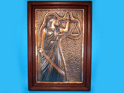 Beautiful Vintage Art Copper Wall Plaque In Frame, Themis!!!