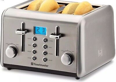 Stainless-Steel 4-Slice Toaster by Toastmaster Compact Reheat & Defrost New