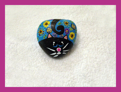 Hand painted FLOWER CAT River Rock Art HEART PAW PRINTS Stone Feline WHIMSICAL