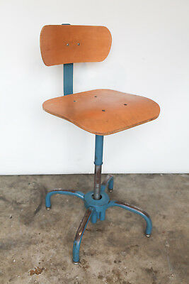 Ajusto / Ajustrite Vintage Industrial Adjustable Drafting Stool 1982 - Bent Ply