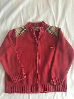 100% Auth BURBERRY Zip Up cardigan sweater Boys 3Y Red