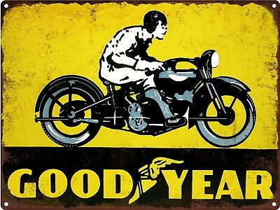 "Goodyear Tires Motorcycle Man Cave Garage Shop Metal Sign Repro 9x12"" 60552"