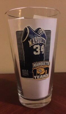 MARQUETTE WARRIORS COORS LIGHT BEER Glass Pint Vtg 100 Years Anniversary