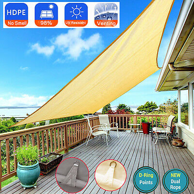 Shade Sail Sun Canopy Garden Patio Awning 98% UV & Waterproof  Venting W/ Ropes