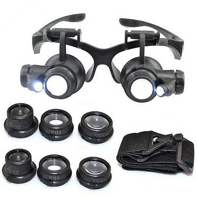 8 Lens Magnifier Magnifying Eye Glass Jeweler Watch Repair Loupe+LED Light YH