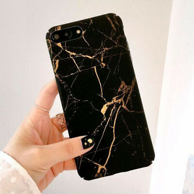 For iPhone X 8Plus 6 6S Black Gold Granite Marble Stone Effect Couples Soft Case