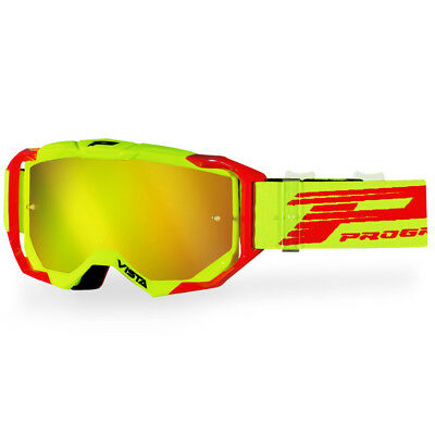 NEW ProGrip Mx 3303 Vista Red/Yellow Tinted Motocross Dirt Bike Premium Goggles