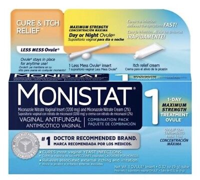 Monistat 1 Cure & Itch Relief Vaginal Antifungal 1 Day Treatment Ovule 2/2019