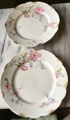 "Vintage Wm Guerin & Co. Limoges France 7.25"" Plates Pink & Blue Floral Gold Leaf"