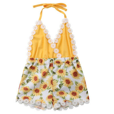 US Seller Toddler Kid Baby Girls Lace Sunflower Romper Bodysuit Jumpsuit Outfits