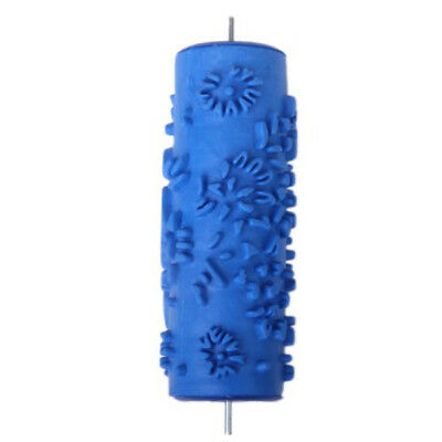 """Flower Pattern 5"""" Embossing Paint Roller Painting Brush Wall Decor Tool Blue"""