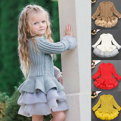 AU Kids Girls Knitted Sweater Winter Pullovers Crochet Tutu Dress Tops Clothes