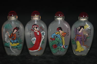 """4pc Chinese folk Inside painting """"Four Beauties Figure"""" glass snuff bottle"""
