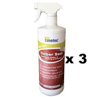 Lanotec Timber Seal Decking Protection (Repels Moisture Prevents Cracking)1L x 3
