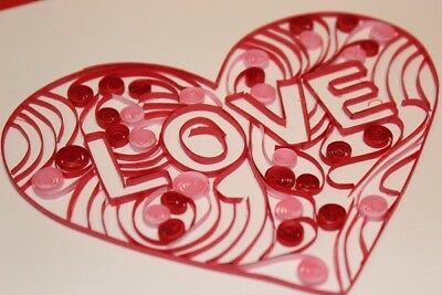 Love Heart Quilling Greeting Card Handmade Happy Birthday Mother