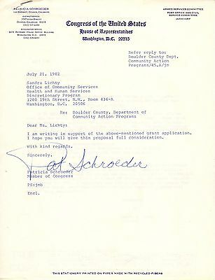 Pat Schroeder HAND SIGNED Letter on Official Congressional Letterhead! Democrat!